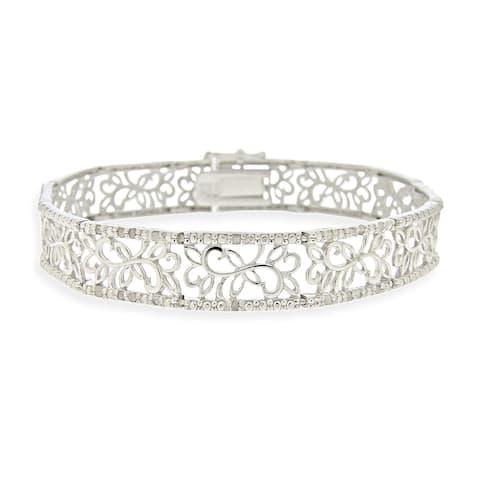 DB Designs Sterling Silver 1/2ct TDW White Diamond Floral Bracelet