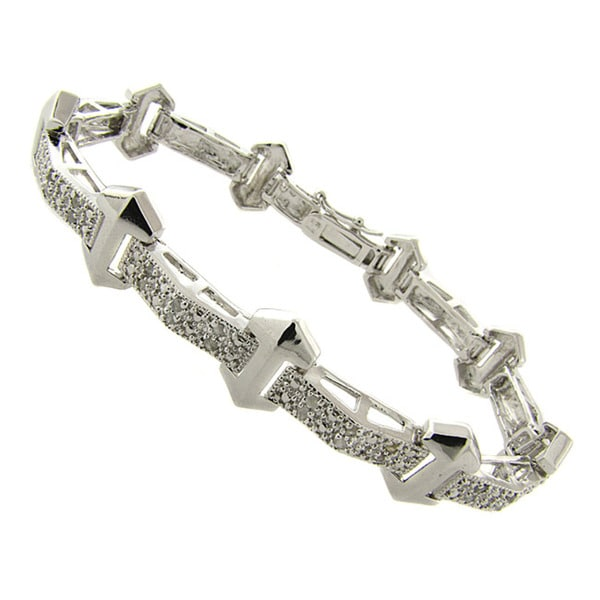 Finesque Silverplated 1/4ct TDW Diamond Bracelet