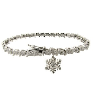 Finesque Silverplated Diamond Accent Snowflake Charm Bracelet