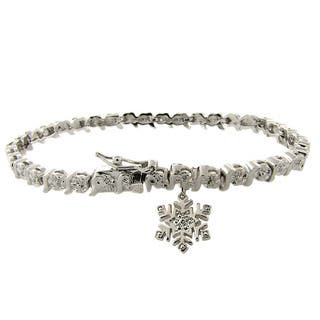 Finesque Silverplated Diamond Accent Snowflake Charm Bracelet|https://ak1.ostkcdn.com/images/products/6247956/P13887010.jpg?impolicy=medium
