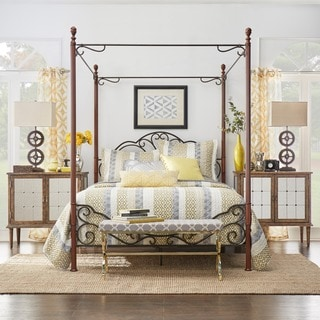 LeAnn Graceful Scroll Iron Metal Queen Canopy Poster Bed by TRIBECCA HOME