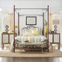 LeAnn Graceful Scroll Iron Metal Canopy Poster Bed by iNSPIRE Q Classic
