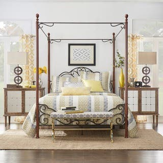 LeAnn Graceful Scroll Iron Metal Queen sized Canopy Poster Bed by iNSPIRE Q  Classic. Queen Size Canopy Bed For Less   Overstock com
