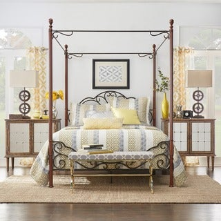 leann graceful scroll iron metal queensized canopy poster bed by inspire q classic