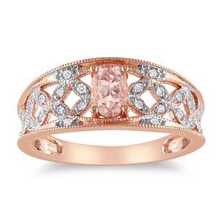 Miadora 10k Pink Gold Morganite and 1/10ct TDW Diamond Ring (G-H, I2-I3)