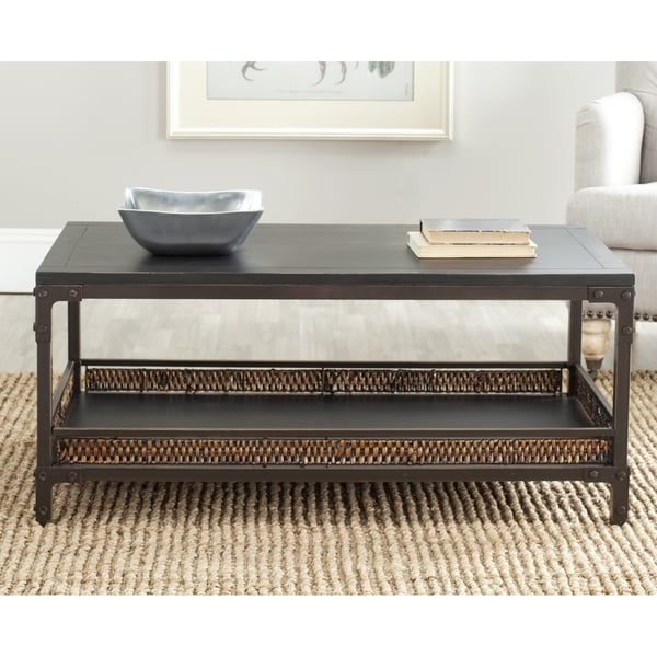 Safavieh Bedford Wicker Accent Wood Top Coffee Table Free Shipping