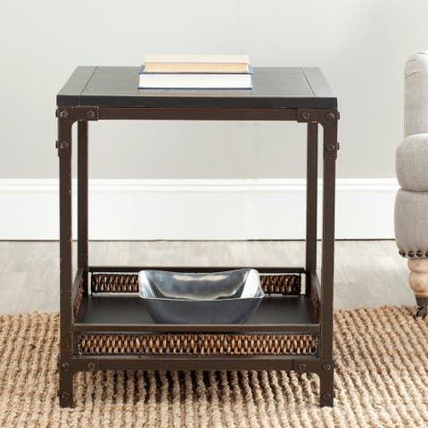 """Safavieh Bedford Wicker Accent Wood Top End Table - 22"""" x 22"""" x 25.2"""""""