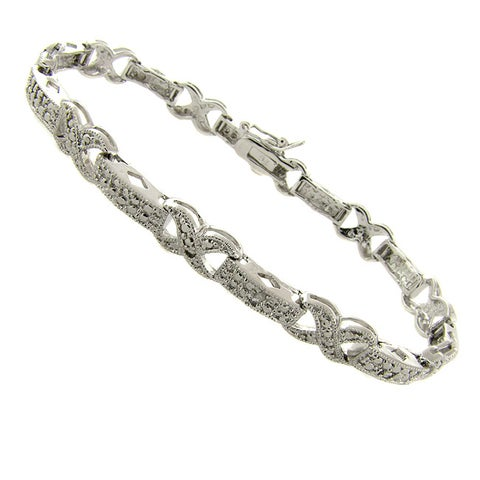 Finesque Silverplated Diamond Accent 'X' Link Bracelet