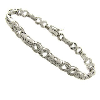 Finesque Silverplated Diamond Accent 'X' Link Bracelet