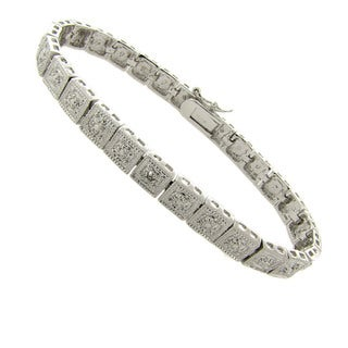 Finesque Silver Overlay Diamond Accent Square Tennis Bracelet