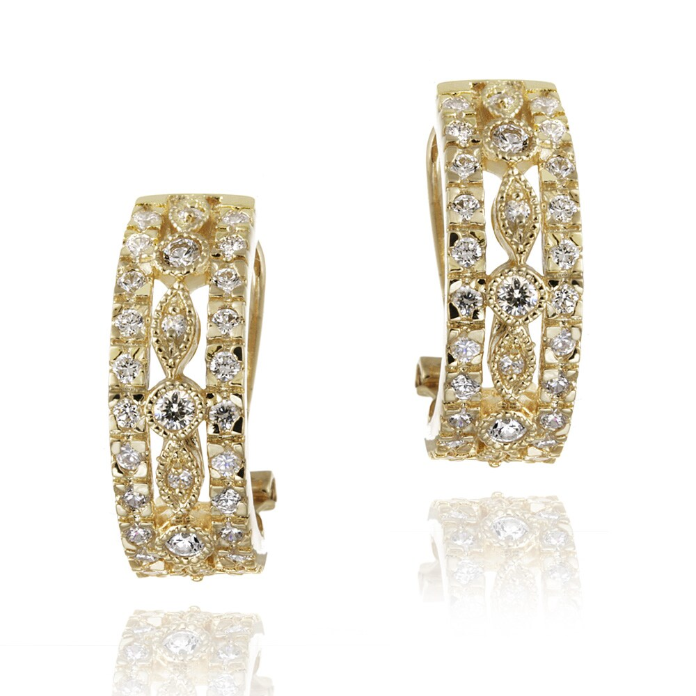 Icz Stonez 14k Yellow Gold over Brass Cubic Zirconia Hoop Earrings
