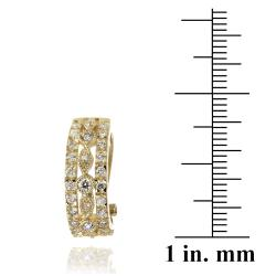 Icz Stonez 14k Yellow Gold over Brass Cubic Zirconia Hoop Earrings - Thumbnail 2