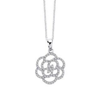 Auriya 14k White Gold 1/4ct TDW Diamond Flower Necklace