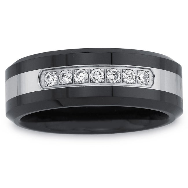 Black Ceramic and Stainless Steel Men's 1/5ct TDW Diamond Band