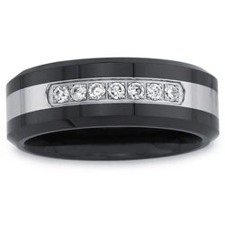 Black Ceramic and Stainless Steel Men's 1/5ct TDW Diamond Band By Ever One