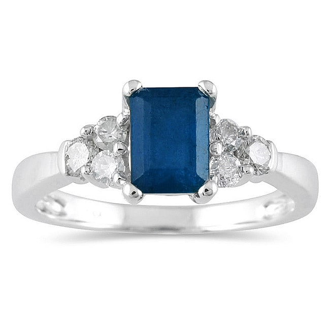 Marquee Jewels 14k White Gold Sapphire and 1/3ct TDW Diamond Ring (J-K, I2-I3)