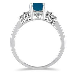 Marquee Jewels 14k White Gold Sapphire and 1/3ct TDW Diamond Ring (J-K, I2-I3) - Thumbnail 1