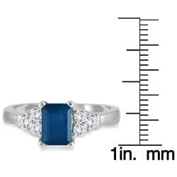 Marquee Jewels 14k White Gold Sapphire and 1/3ct TDW Diamond Ring (J-K, I2-I3) - Thumbnail 2