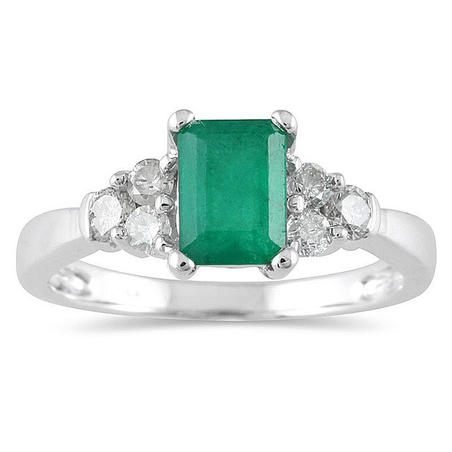 Marquee Jewels 14k White Gold Emerald and 1/3ct TDW Diamond Ring (I-J, I1-I2)