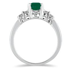 Marquee Jewels 14k White Gold Emerald and 1/3ct TDW Diamond Ring (I-J, I1-I2) - Thumbnail 1
