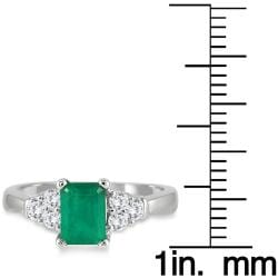 Marquee Jewels 14k White Gold Emerald and 1/3ct TDW Diamond Ring (I-J, I1-I2) - Thumbnail 2