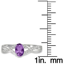 Marquee Jewels 10k White Gold Amethyst and 1/10ct TDW Diamond Ring (I-J, I1-I2)