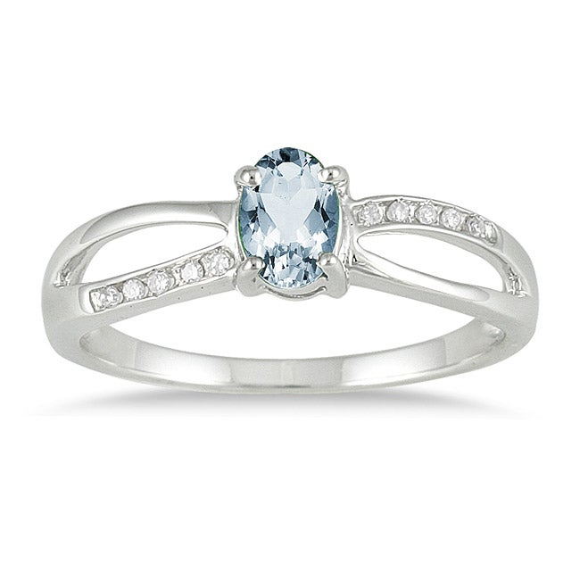 Marquee Jewels 10k White Gold Aquamarine and Diamond Accent Ring