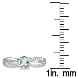 Marquee Jewels 10k White Gold Aquamarine and Diamond Accent Ring - Thumbnail 2