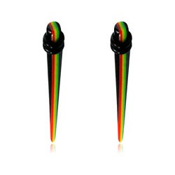 Supreme Jewelry Pair of 4 Gauge Acrylic Rasta Striped Tappers