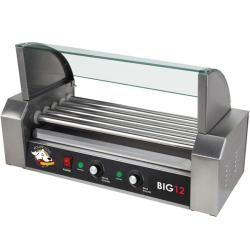 Funtime Stainless Steel Hotdog Roller with Drip Tray and Glass Cover