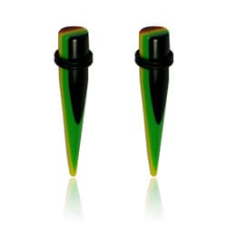 Supreme Jewelry Pair of 00 Gauge Acrylic Rasta Striped Tappers