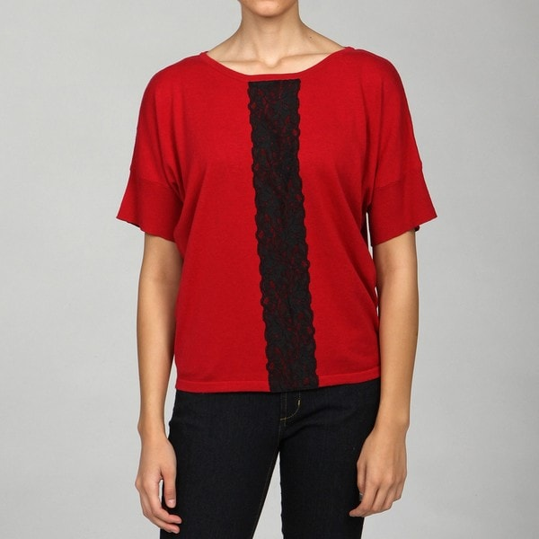 Cable & Gauge Women's Dolman-sleeve Lace Top