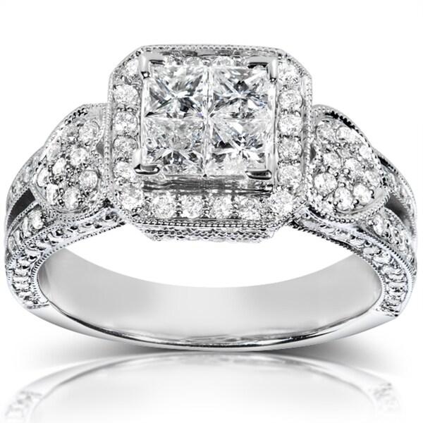 Annello by Kobelli 14k White Gold 1 1/2 ct TDW Diamond Engagement Ring (H-I, I1-I2)