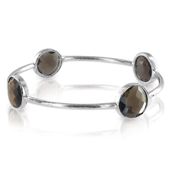 West Coast Jewelry ELYA Designs Silverplated Smokey Quartz Bangle Bracelet
