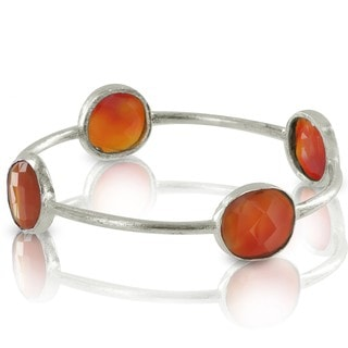 West Coast Jewelry ELYA Silverplated Carnelian Bangle Bracelet