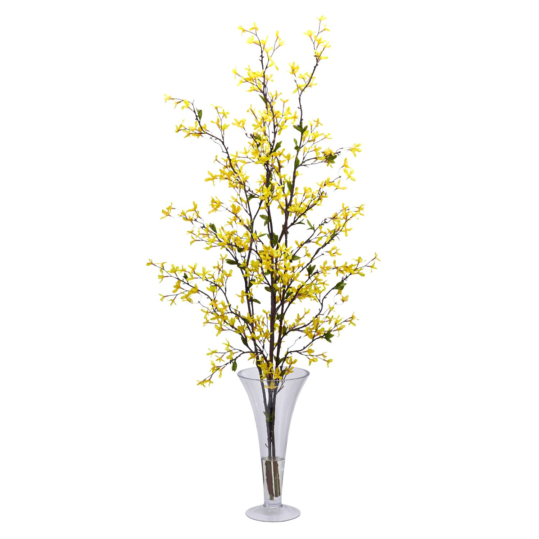 forsythia vase silk flower arrangement - Forsythia Arrangements