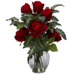 Rose/ Fern Silk Flower Arrangement