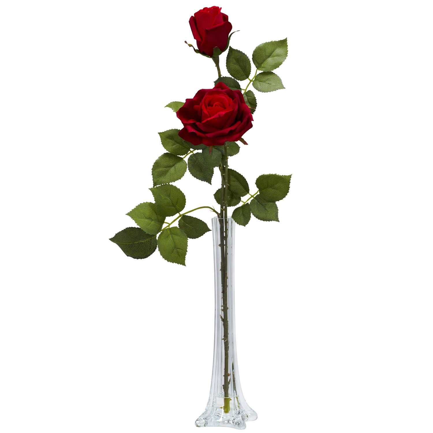Roses Tall Bud Vase Silk Flower Arrangement