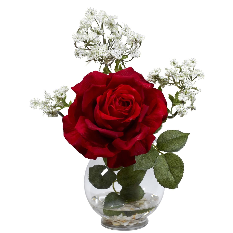 Rose & Queen Ann's Lace Silk Flower Arrangement