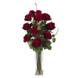 Roses Cylinder Vase Silk Flower Arrangement