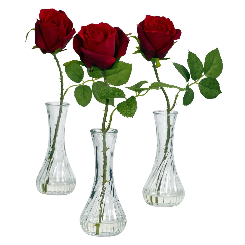 Nearly Natural Rose Bud Vase (Set of 3) (Rose w/Bud Vase ...