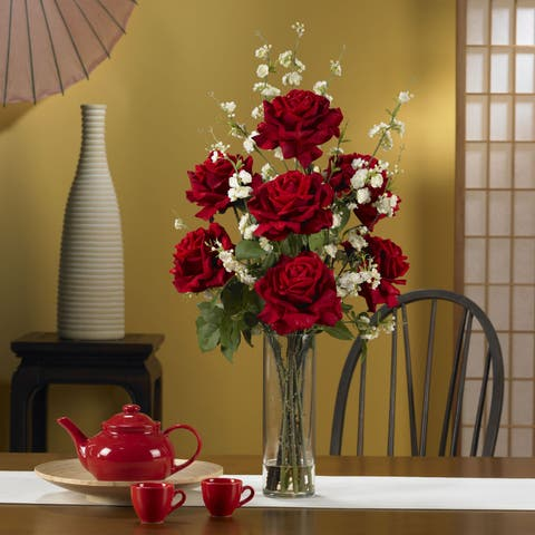 Roses & Cherry Blossoms Silk Flower Arrangement - Multicolor