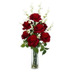 Roses & Cherry Blossoms Silk Flower Arrangement - Thumbnail 1