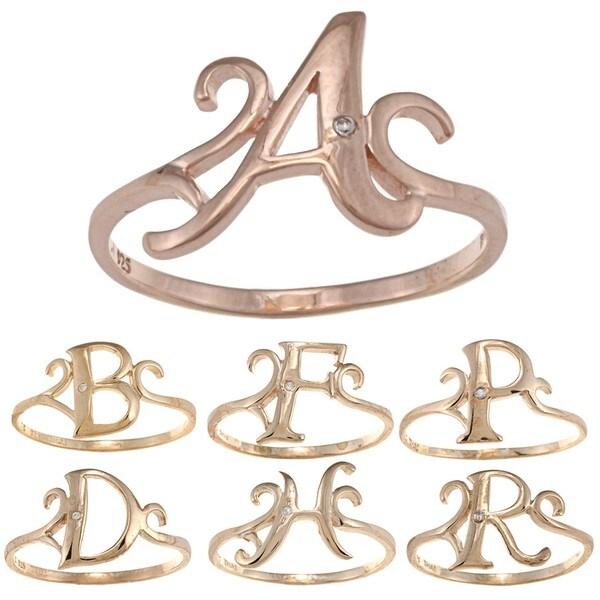 La Preciosa Rose Gold Over Sterling Silver Cubic Zirconia Initial Ring