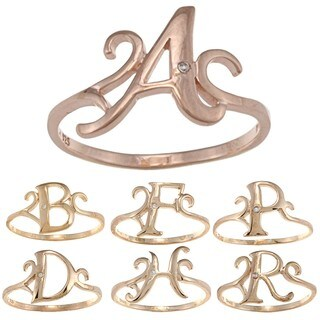 La Preciosa Rose Gold Over Sterling Silver Cubic Zirconia Initial Ring (More options available)