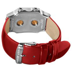 Philip Stein Women's 'Signature' Shiny Red Leather Strap Watch - Thumbnail 1