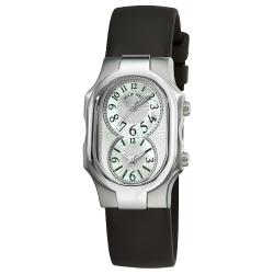 Philip Stein Women's 'Signature' Black Rubber Strap Dual Time Watch