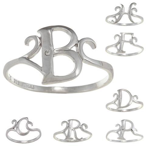 La Preciosa Sterling Silver Cubic Zirconia Initial Ring