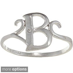 La Preciosa Sterling Silver Cubic Zirconia Initial Ring (More options available)