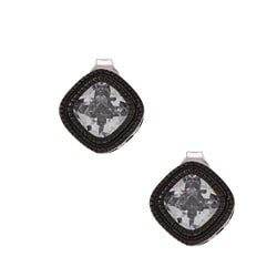 La Preciosa Black-plated Silver Cubic Zirconia Square Earrings